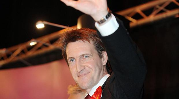 Labour's Dan Jarvis celebrates his victory in the Metrodome Complex, Barnsley