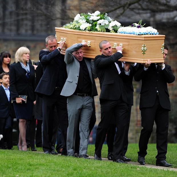 Dean Richards' coffin is carried into Bradford Cathedral