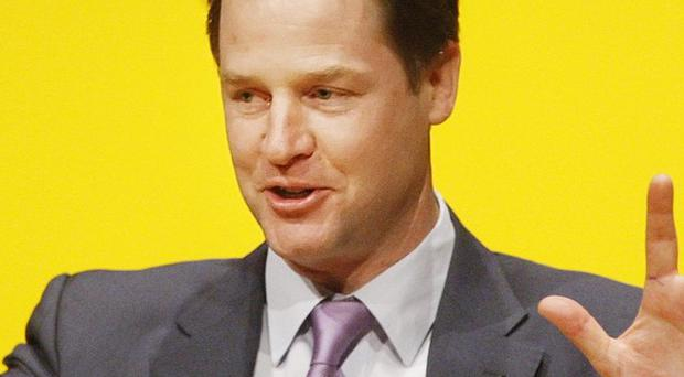Nick Clegg addresses the Scottish Liberal Democrats' spring conference in Perth