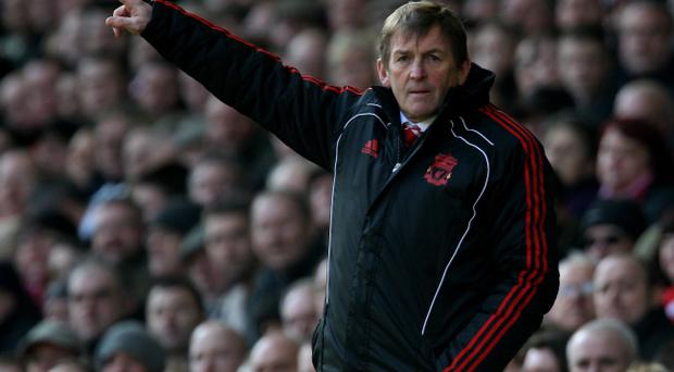 LIVERPOOL, UNITED KINGDOM - MARCH 06: Liverpool Manager Kenny Dalglish gestures during the Barclays Premier League match between Liverpool and Manchester United at Anfield on March 6, 2011 in Liverpool, England. (Photo by Alex Livesey/Getty Images)