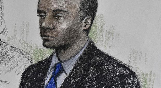Artist impression of former minicab driver Delroy Grant in the Old Bailey