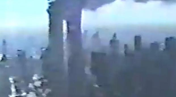 A New York Police Department video shows the World Trade Centre on fire (AP)