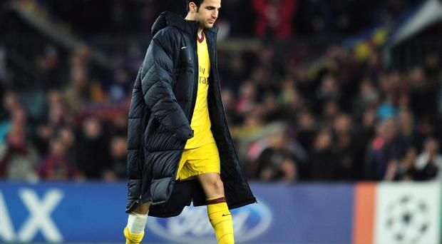 BARCELONA, SPAIN - MARCH 08: Cesc Fabregas of Arsenal leaves the field at the end of the UEFA Champions League round of 16 second leg match between Barcelona and Arsenal at the Nou Camp Stadium on March 8, 2011 in Barcelona, Spain. (Photo by Shaun Botterill/Getty Images)