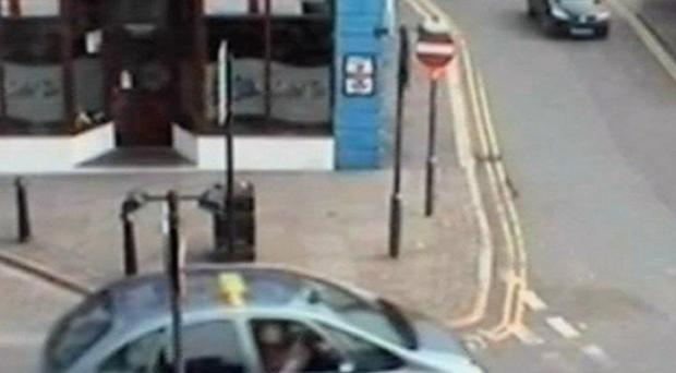 CCTV footage shows Derrick Bird driving away from the taxi rank and along Duke Street