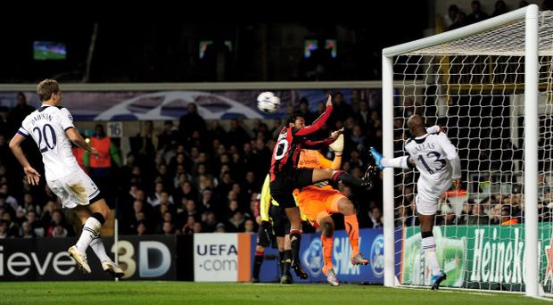 LONDON, ENGLAND - MARCH 09: William Gallas (R) of Tottenham clears the effort of Robinho (3R) of Milan off the line during the UEFA Champions League round of 16 second leg match between Tottenham Hotspur and AC Milan at White Hart Lane on March 9, 2011 in London, England. (Photo by Jamie McDonald/Getty Images)