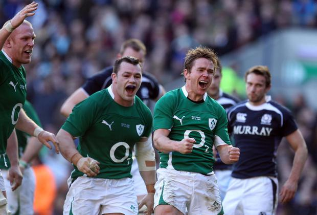 Eoin Reddan passionately celebrates his try against against Scotland, breaking his duck for Ireland