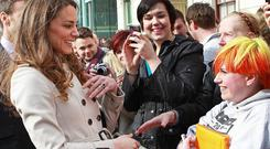 Kate Middleton meets members of the public outside the Youth Action Northern Ireland centre in Belfast