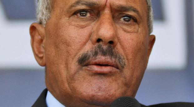 Yemeni president Ali Abdullah Saleh delivers a speech to his supporters in Sanaa, Yemen (AP)