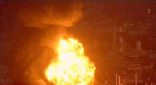 An oil refinery burns in Ichihara, Chiba Prefecture Japan Friday March 11, 2011 following a massive earth quake.