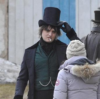 Rock musician Pete Doherty during filming near Regensburg, Germany (AP)