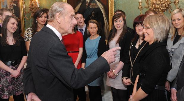 The Duke of Edinburgh was guest of honour at the awards ceremony at Hillsborough Castle where he met 60 gold award winners from across Northern Ireland