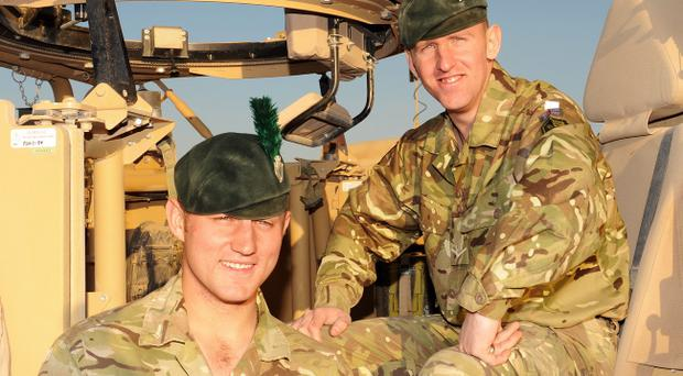 L/Cpl Stephen McKee (right) with his brother, L/Cpl Michael McKee, in Afghanistan