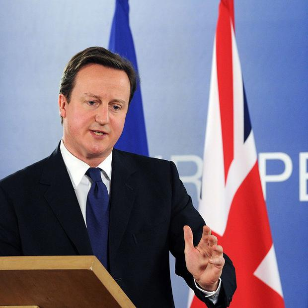 David Cameron and other EU leaders have demanded that Gaddafi give up power immediately (AP)