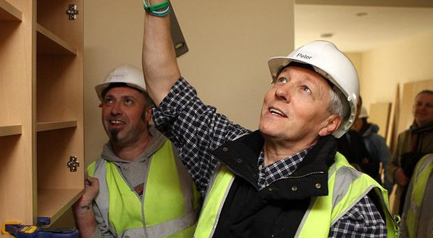 Peter Robinson mucked in with fellow Executive ministers on a Belfast building site