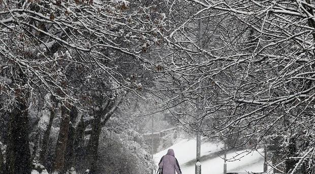 Wintry conditions in Denny, central Scotland