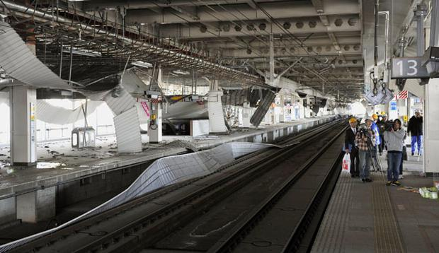 Damaged platforms for bullet trains are seen in Sendai, northern Japan Monday, March 14, 2011 following Friday's massive earthquake and the ensuing tsunami. (AP Photo/Kyodo News) JAPAN OUT, MANDATORY CREDIT, NO SALES IN CHINA, HONG KONG, JAPAN, SOUTH KOREA AND FRANCE