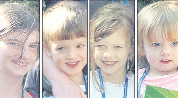 Chloe Eaton (12) and siblings Jon (5), Jessica (10) and Megan (1) who were found yesterday in Newcastle, Co Down, after going missing in Co Louth