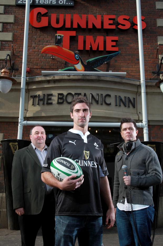 Gerry Webb, general manager of The Botanic Inn, Belfast, South African world cup winner Ruan Pienaar and Cool FM's Pete Snodden.