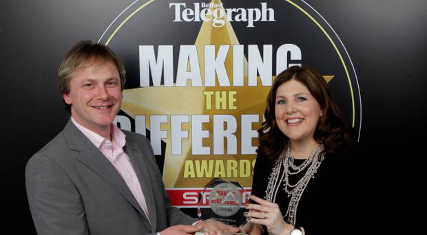 Presseye.com - Belfast - Northern Ireland - 9th March 2011.Picture by Matt Mackey/Presseye.com - Belfast.Belfast Telegraph Making The Difference Awards in association with SPAR.AWARD NUMBER 4Best Neighbour award sponsored by George Best Belfast City Airport(L-R) Peter McMullan and Michelle Hatfield, Corporate Responsibility Director Ð George Best Belfast City Airport.