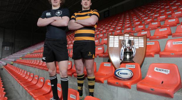 Northern Bank Schools' Cup Final captains, John Creighton of Campbell College and Patrick Bell of RBAI pictured with the trophy ahead of the Ravenhill final