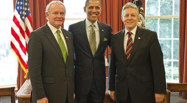 Northern Ireland First Minister Peter Robinson and Deputy First Minister Martin McGuinness meet with President Barack Obama at the White House yesterday