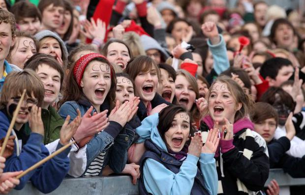 Campbell fans celebrate winning the Northern Bank Schools' Cup 2011