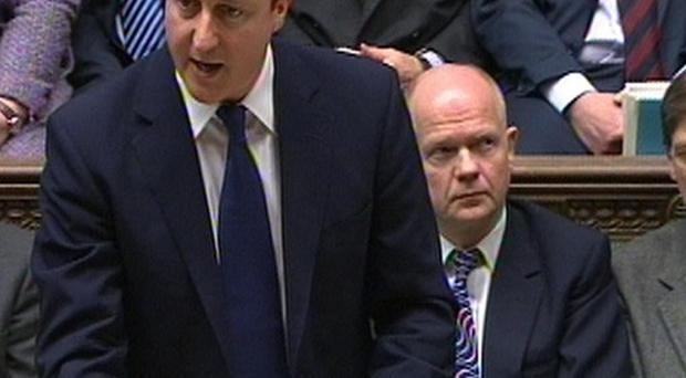 David Cameron tells the House of Commons about plans for British forces to help enforce the UN resolution on Libya