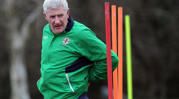 Northern Ireland manager Nigel Worthington during Monday afternoon's training session in Belfast ahead of Friday night's UEFA Euro 2012 Qualifier against Serbia in Belgrade