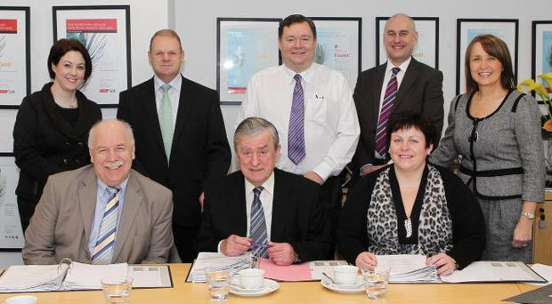 The Business Awards judging panel are (back row from left) Brenda Morgan, bmi sales manager Ireland; Brian Ambrose, chief executive Belfast City Airport; Stephen Curragh, partner PwC; Ann McGregor, chief executive of the Northern Ireland Chamber of Commerce (front row) Ian Murphy, Managing Director of the Clients and Entrepreneurship Group, Invest NI; Professor John Simpson, chairman of the panel; Joanne Stuart, chair of the Institute of Directors and director of Attrus Ltd