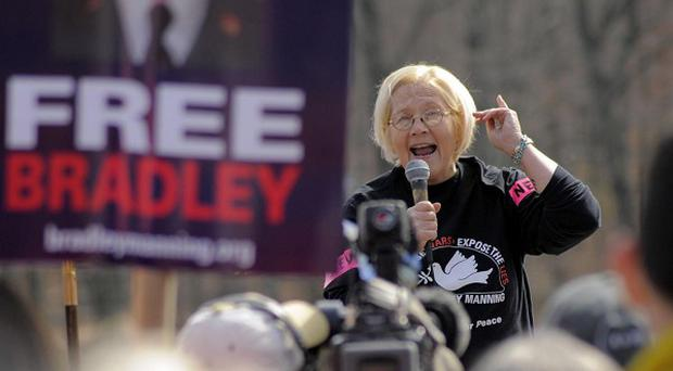 US Army Colonel Mary Ann Wright speaks to a crowd of protesters in a demo against the detention of private Bradley Manning (AP)