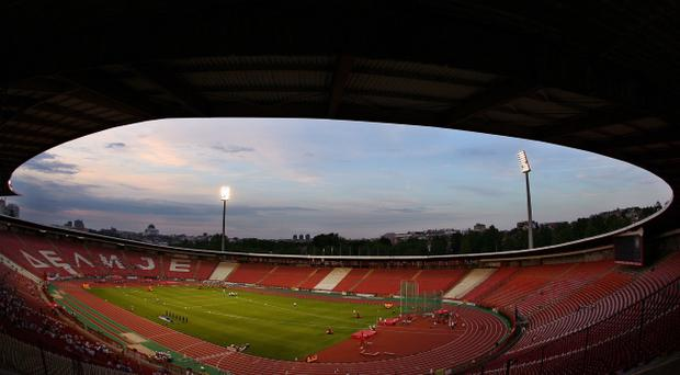 Northern Ireland will be greeted by over 55,000 red seats at the 'Marakana' stadium in Belgrade on Friday night after their fans caused the abandonment of their last qualifier in Italy