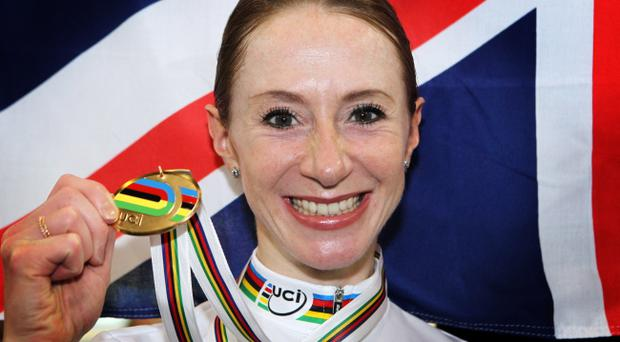 Wendy Houvenaghel won gold with the women's Team Pursuit for GB on day two of the UCI Track World Championship at the Omnisport arena