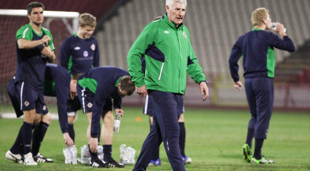 Nigel Worthington, seen here during last night's training session in Belgrade, is banking on youngsters