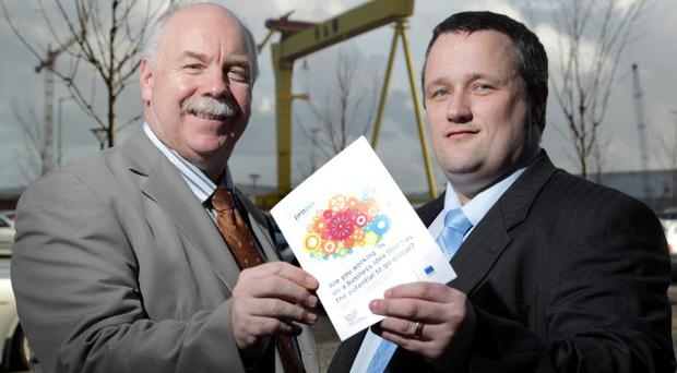 The 2011 Invest NI Propel programme is now open for applications. Pictured is Ian Murphy, Invest NI Managing Director of Clients and Entrepreneurship (left), with John Davies of Aqueo in Belfast, who is a past participant on the Propel programme.