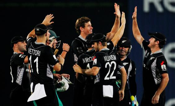 Jacob Oram celebrates taking the wicket of Graeme Smith during New Zealand's stunning victory over South Africa in the quarter-finals of the World Cup