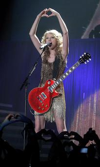 Taylor Swift performs at the Odyssey Arena last night