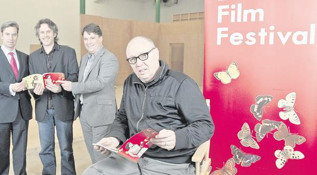 (Left to right): Iain Lees of sponsors PricewaterhouseCoopers; Belfast Film Festival chair Brian Henry Martin; Richard Williams from Northern Ireland Screen; and director Terry George launch industry events taking place as part of this year's Belfast Film Festival