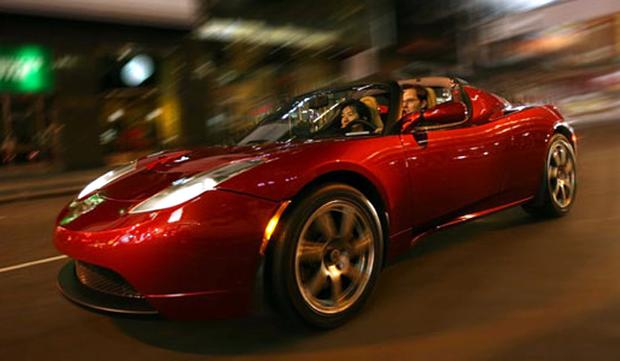 The quiet-running Tesla Roadster