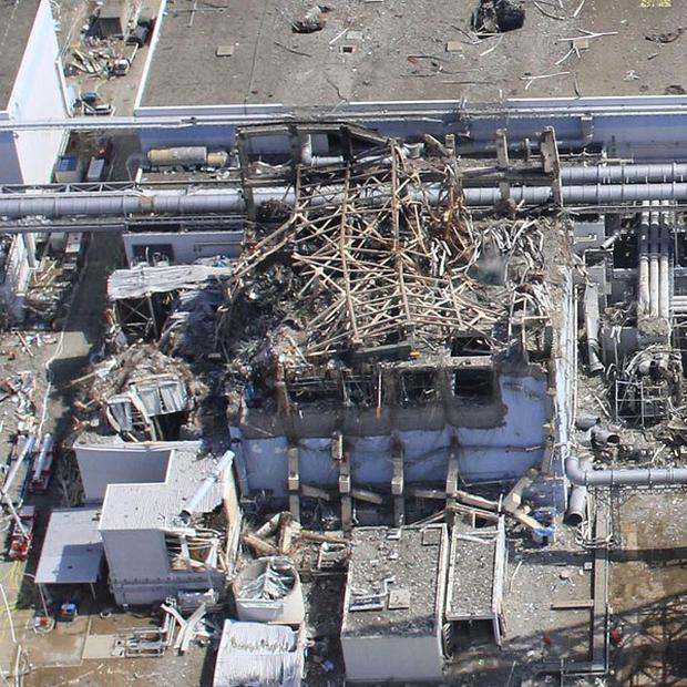 An aerial photo shows the damaged Unit 3 of the crippled Fukushima Dai-ichi nuclear plant (AIR PHOTO SERVICE)