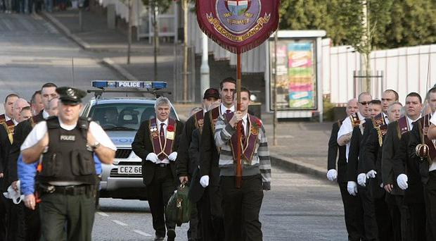 A controversial Apprentice Boys march passes peacefully by the Ardoyne Road last year