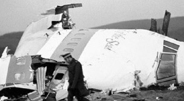The wrecked nose section of the Pan-Am Boeing 747 in a field at Lockerbie after the plane was blown apart by a terrorist bomb