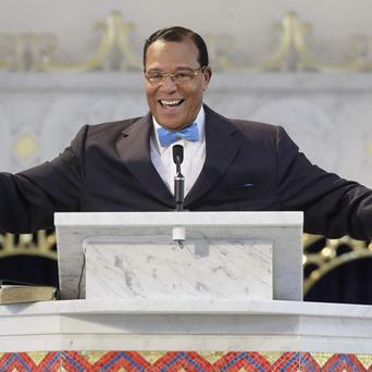 Nation of Islam leader Louis Farrakhan speaks during a news conference in Chicago (AP)
