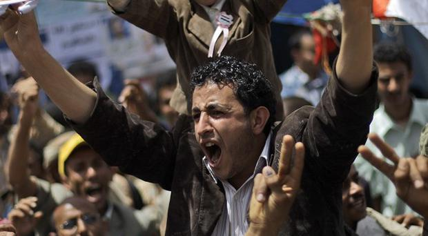 Anti-government protesters are demanding the resignation of Yemeni President Ali Abdullah Saleh (AP)