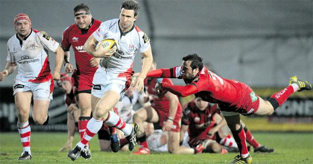 Out of reach: Ulster's Simon Danielli goes on a run during their win over the Scarlets at Ravenhill