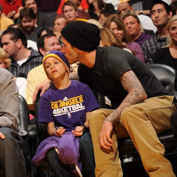 David Beckham attended the LA Lakers game with his son Romeo