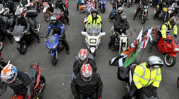 A sea of motorbike riders gather at Hullavington airfield in preparation for the Ride of Respect charity ride