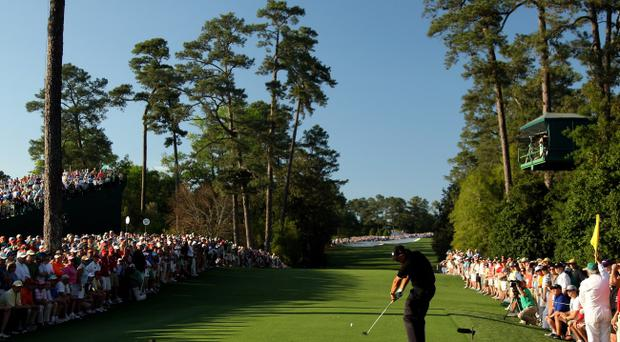 Phil Mickelson tees off on the 18th in the final round last year and is one of the favourites to grab the green jacket again at the Masters in Augusta
