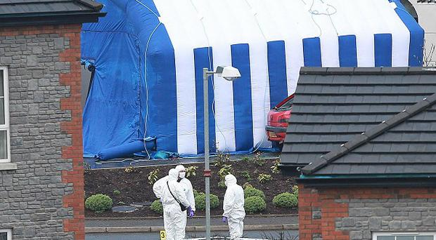 Forensic officers have been examining the scene of the blast