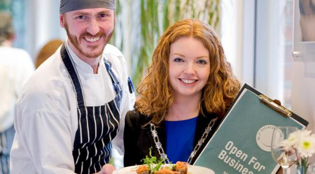 Launching the club is head chef and joint owner Alan Higginson with Jacinta Parkhill.