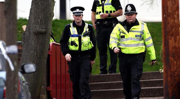 Police near to the scene of Chloe West's attack in Stourbridge, West Midlands